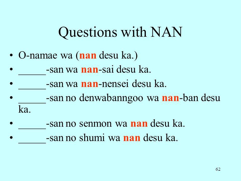 Questions with NAN O-namae wa (nan desu ka.)