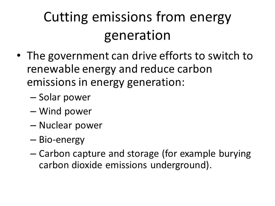 Cutting emissions from energy generation