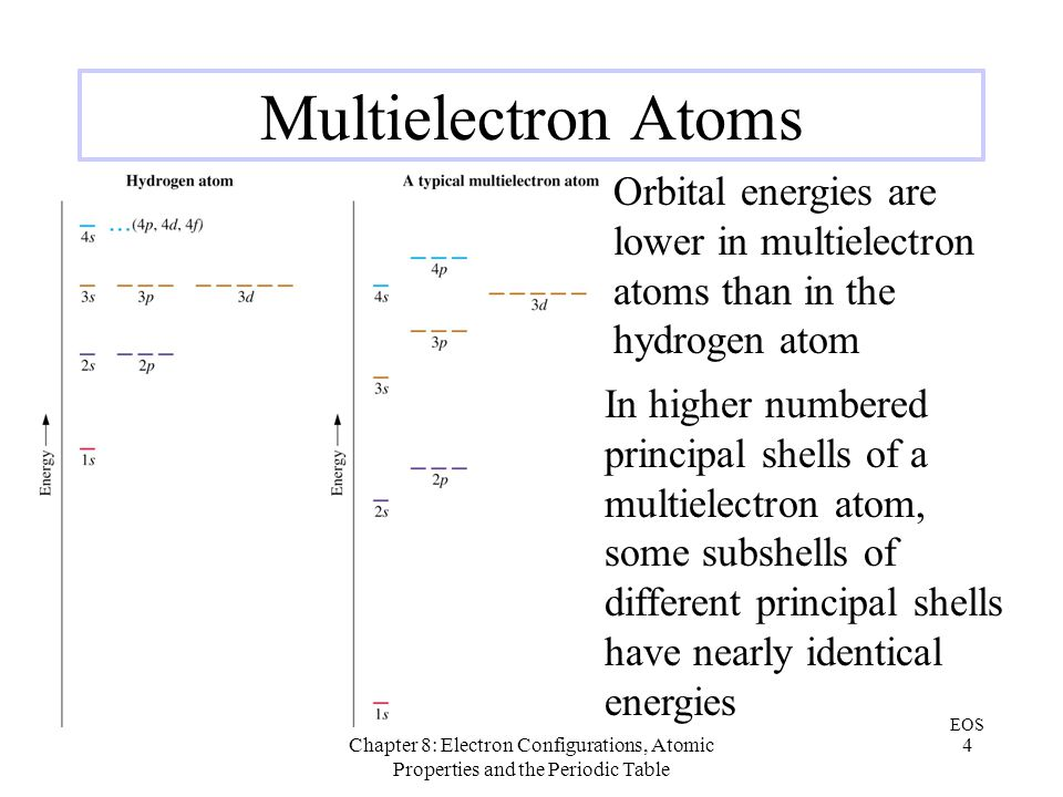 Multielectron Atoms Orbital energies are lower in multielectron atoms than in the hydrogen atom.