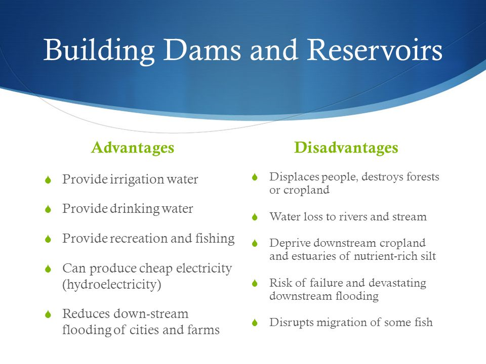 Building Dams and Reservoirs