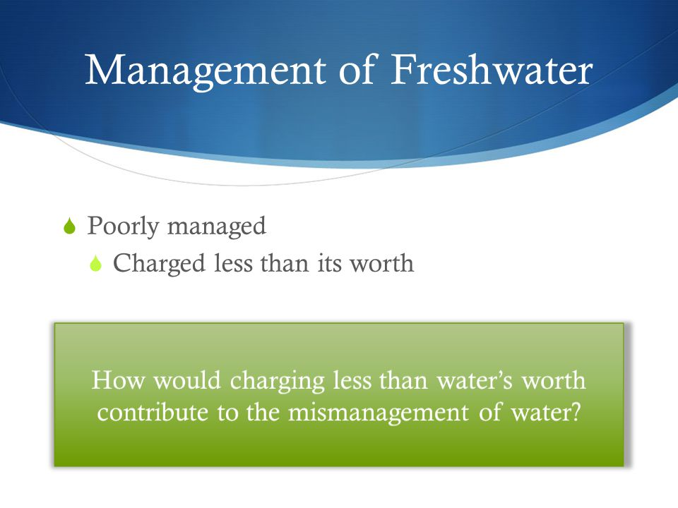 Management of Freshwater