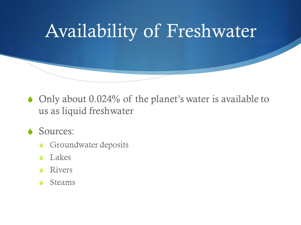 Availability of Freshwater