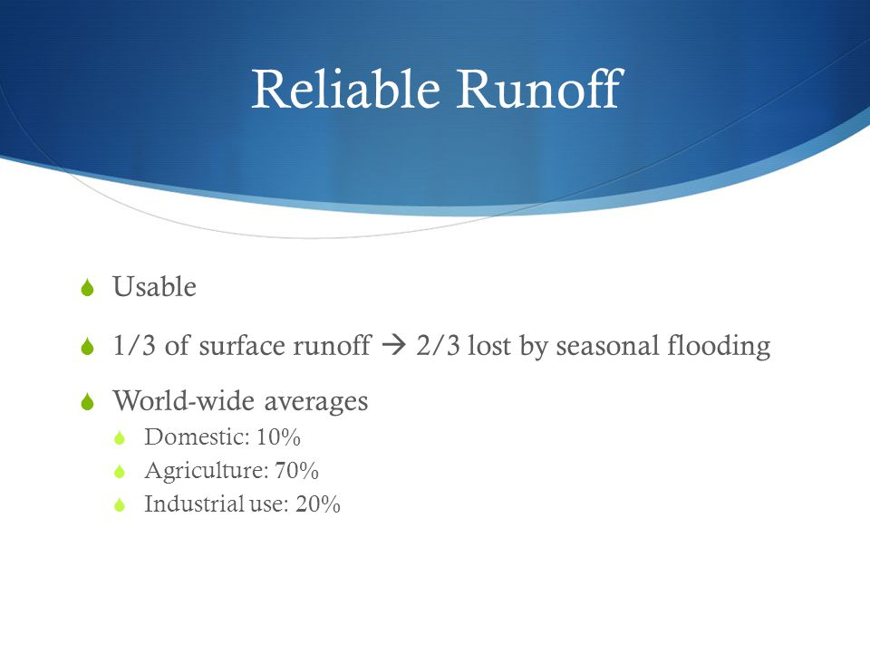 Reliable Runoff Usable