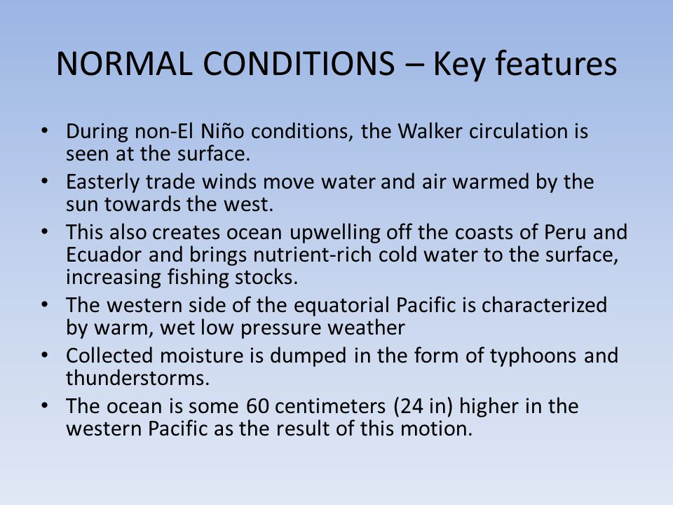NORMAL CONDITIONS – Key features