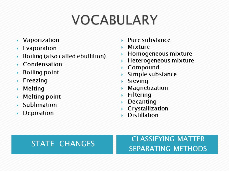 VOCABULARY STATE CHANGES CLASSIFYING MATTER SEPARATING METHODS