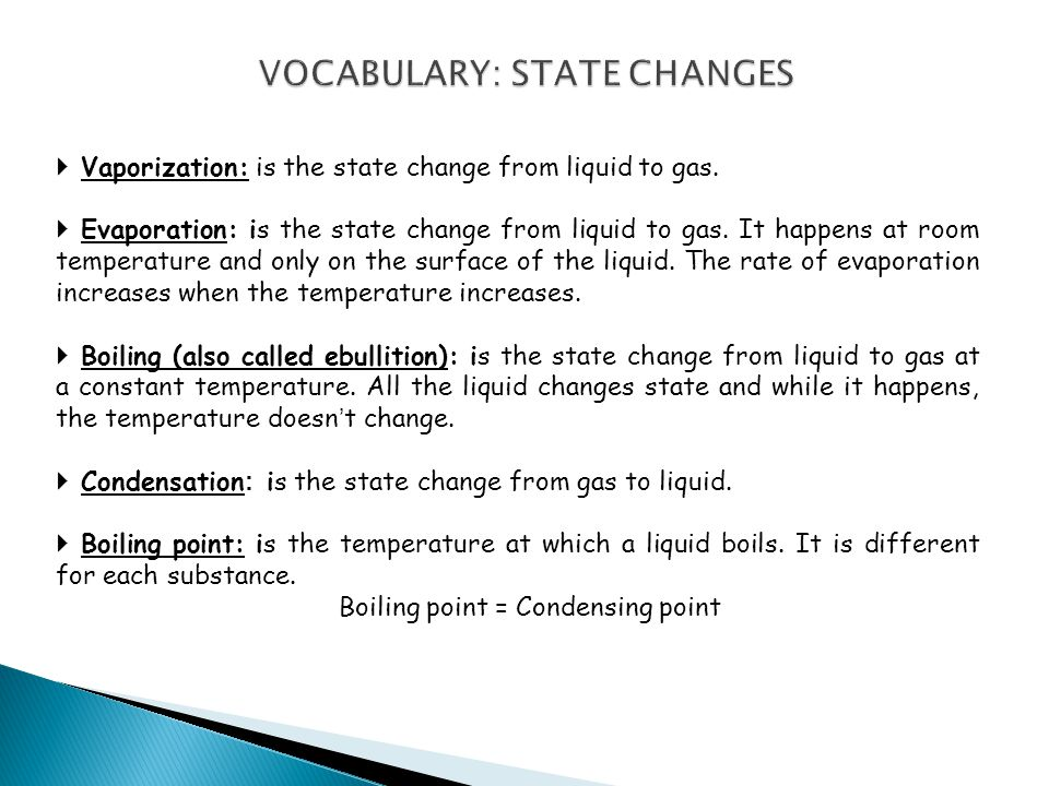 VOCABULARY: STATE CHANGES
