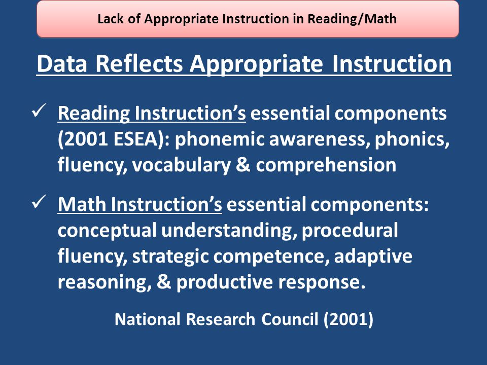 Data Reflects Appropriate Instruction