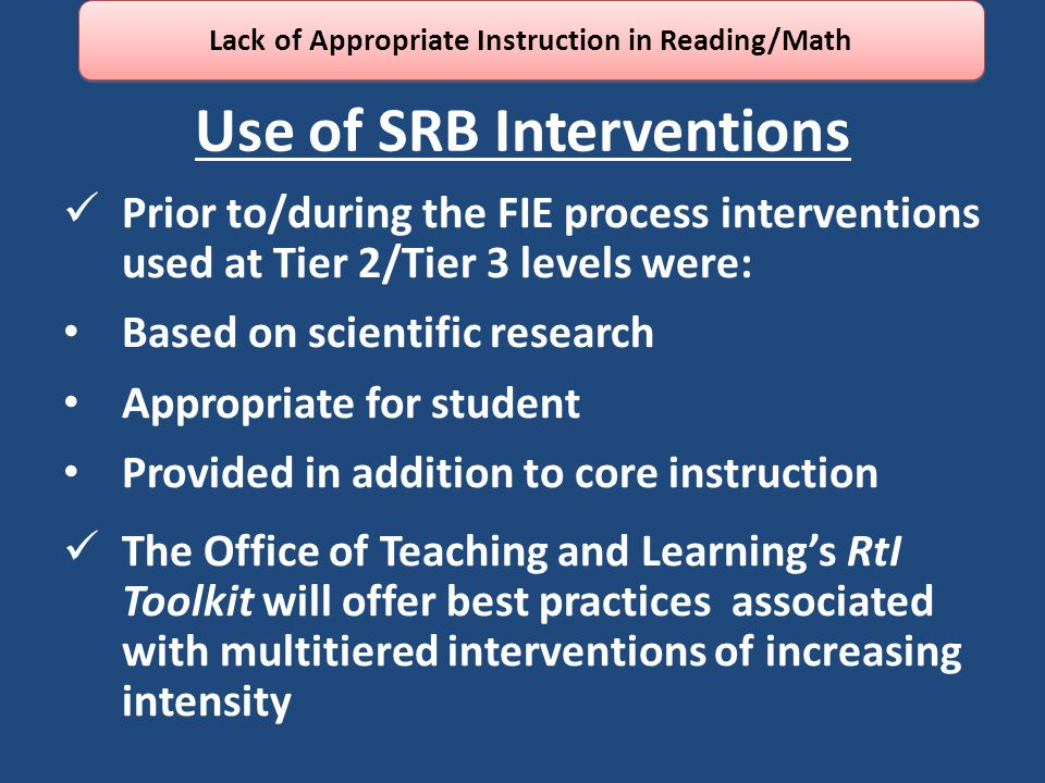 Use of SRB Interventions