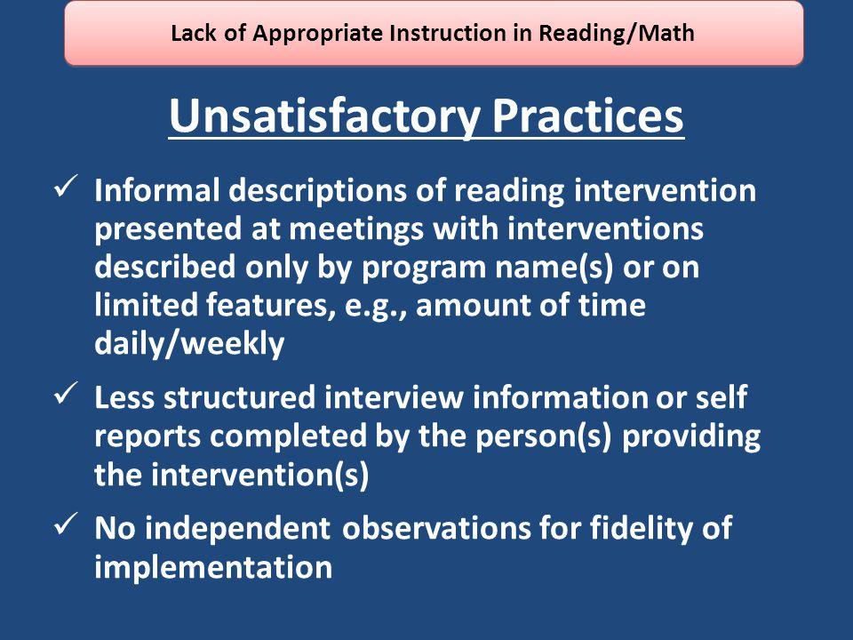 Unsatisfactory Practices