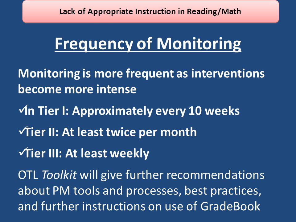 Frequency of Monitoring