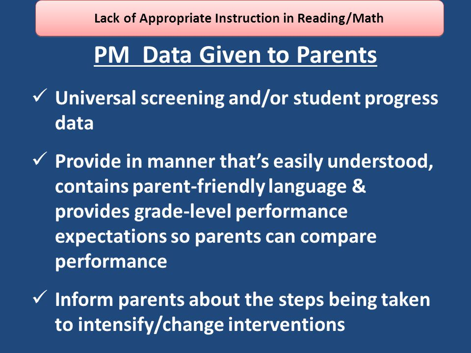 PM Data Given to Parents