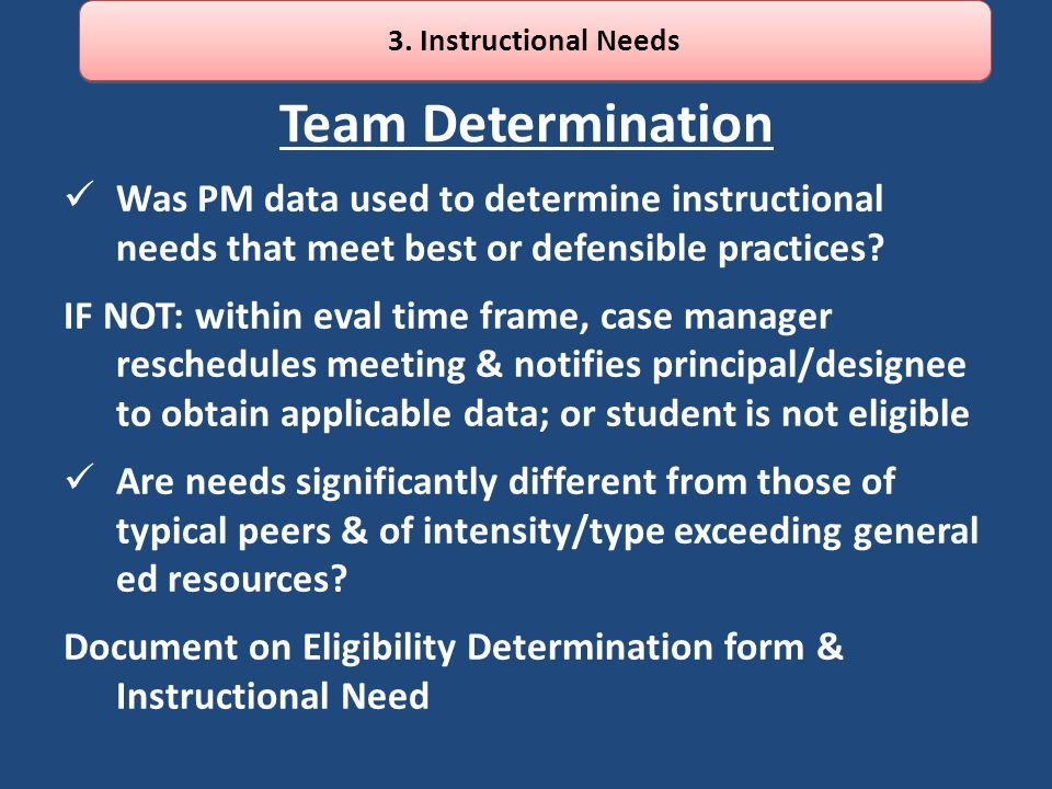 3. Instructional Needs Team Determination. Was PM data used to determine instructional needs that meet best or defensible practices