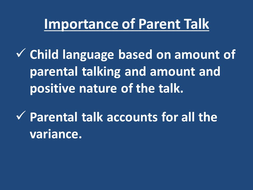Importance of Parent Talk