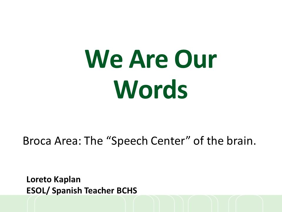 Broca Area: The Speech Center of the brain.