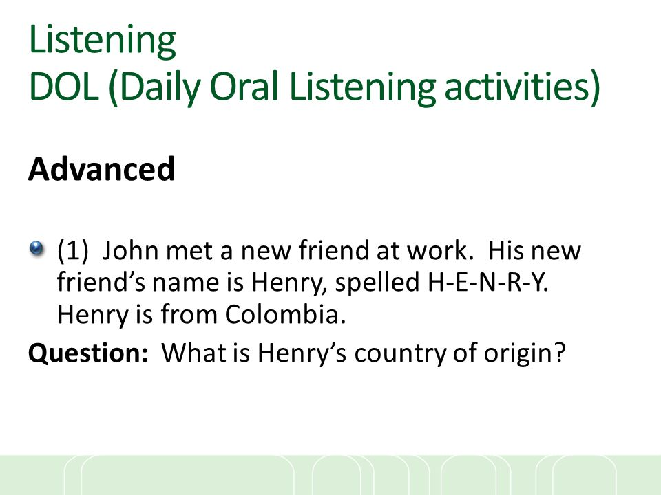 Listening DOL (Daily Oral Listening activities)