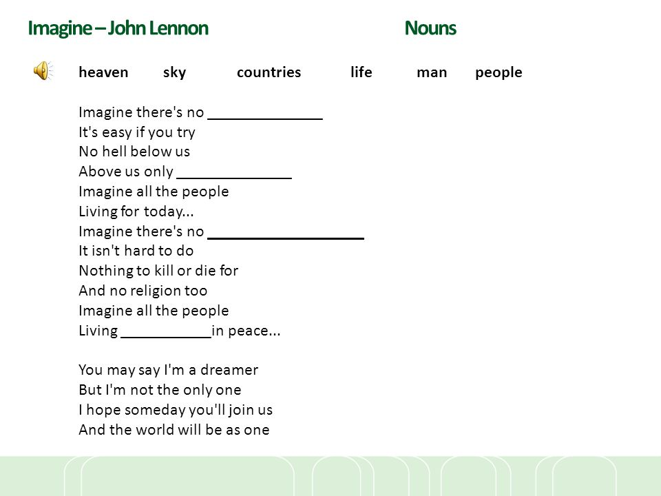 Imagine – John Lennon Nouns