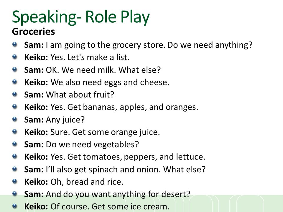 Speaking- Role Play Groceries