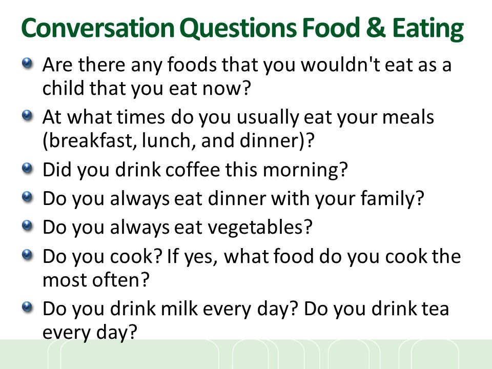 Conversation Questions Food & Eating
