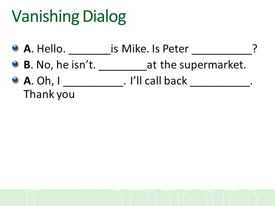 Vanishing Dialog A. Hello. _______is Mike. Is Peter __________