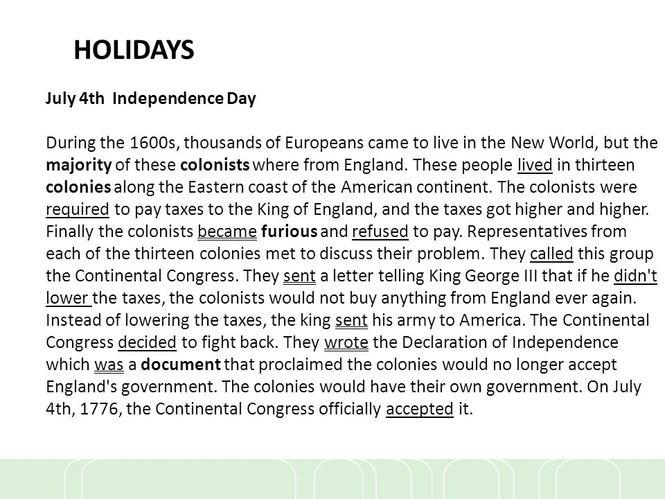 HOLIDAYS July 4th Independence Day
