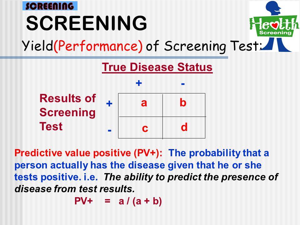 SCREENING Yield(Performance) of Screening Test: a d c b