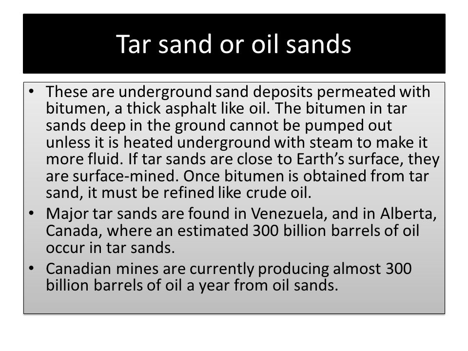 Tar sand or oil sands