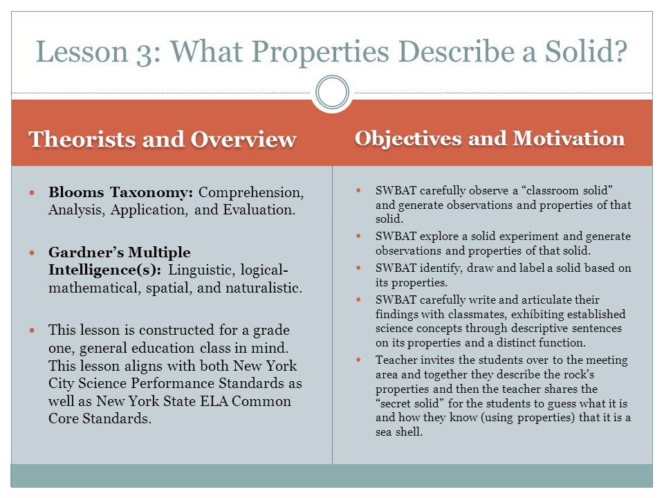 Lesson 3: What Properties Describe a Solid