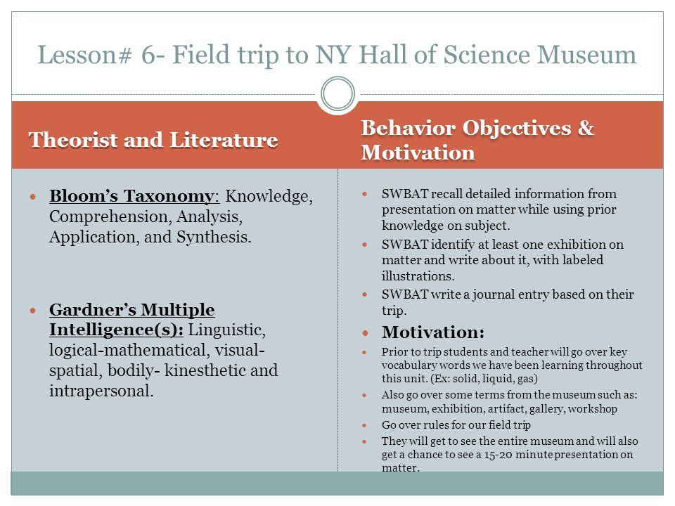 Lesson# 6- Field trip to NY Hall of Science Museum