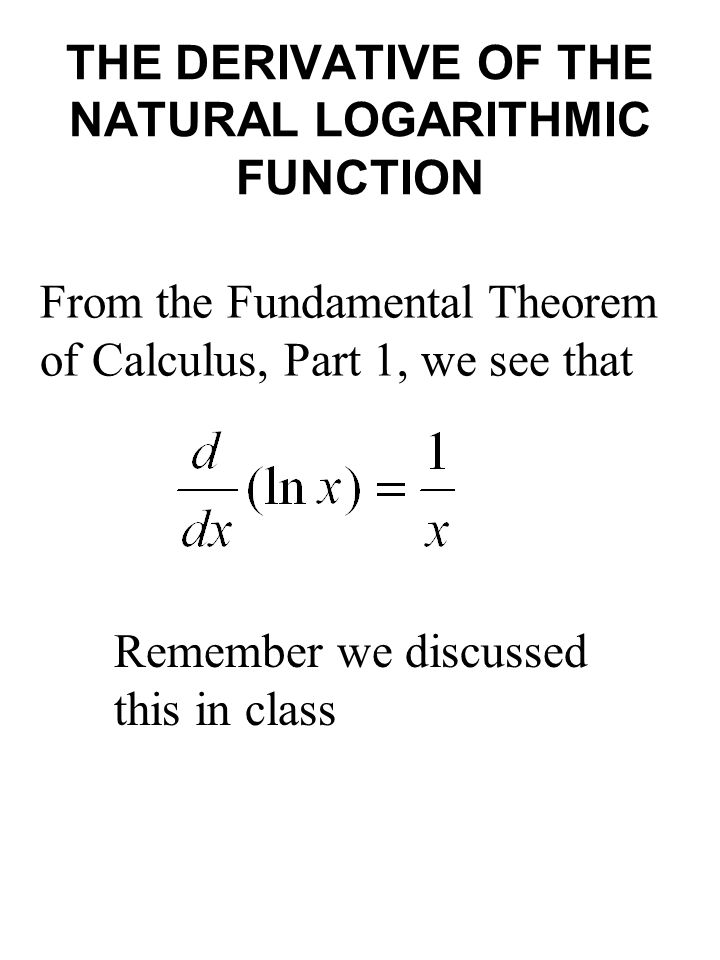 THE DERIVATIVE OF THE NATURAL LOGARITHMIC FUNCTION
