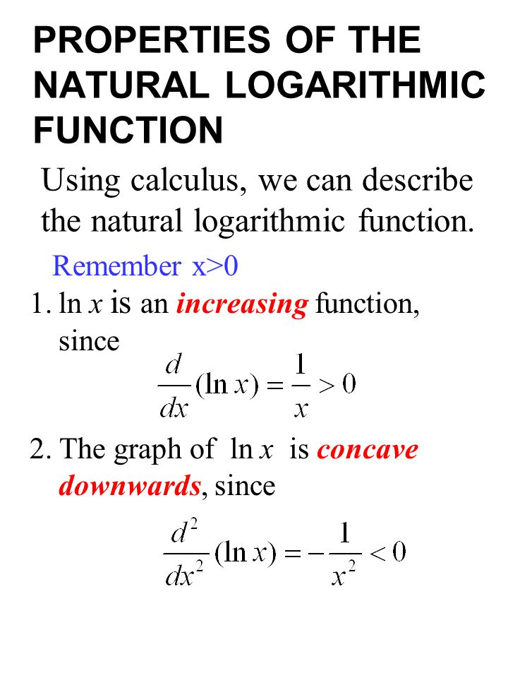 PROPERTIES OF THE NATURAL LOGARITHMIC FUNCTION
