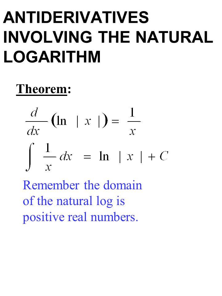 ANTIDERIVATIVES INVOLVING THE NATURAL LOGARITHM