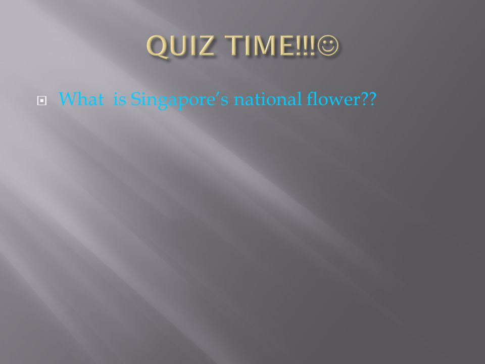 QUIZ TIME!!! What is Singapore's national flower