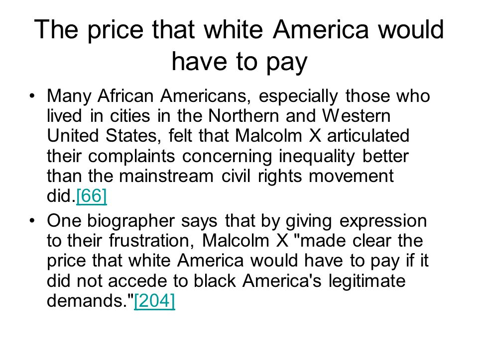The price that white America would have to pay