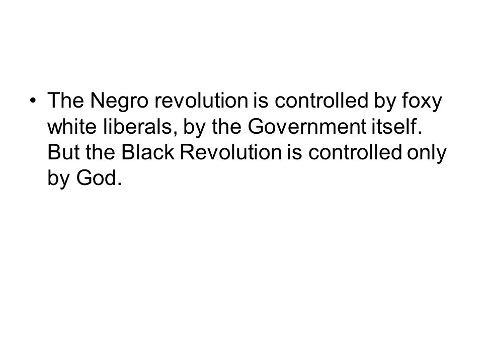 The Negro revolution is controlled by foxy white liberals, by the Government itself.