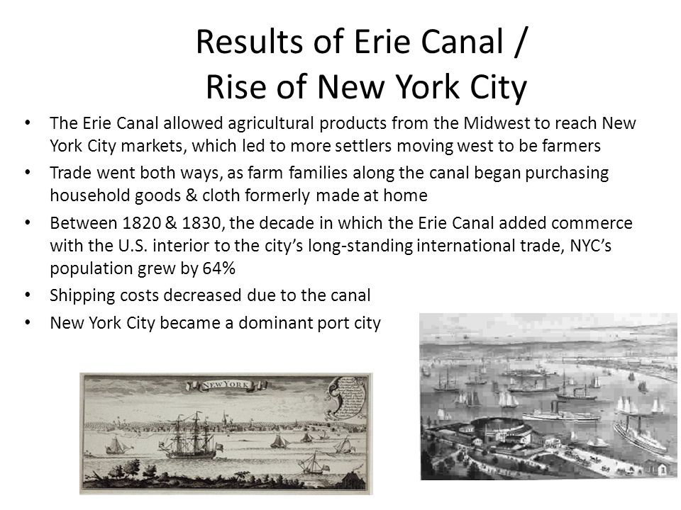 Results of Erie Canal / Rise of New York City