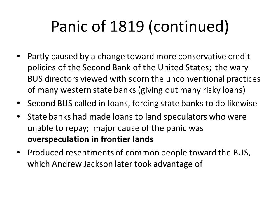 Panic of 1819 (continued)