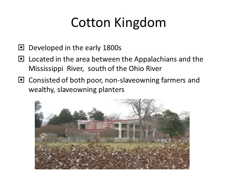 Cotton Kingdom Developed in the early 1800s