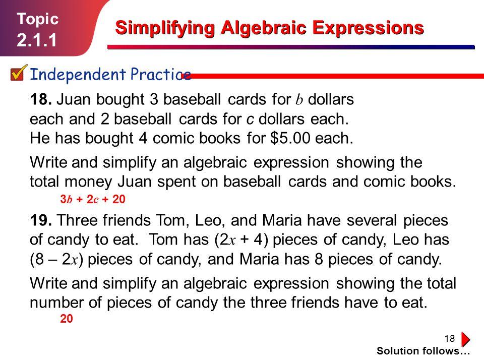 Simplifying Algebraic Expressions