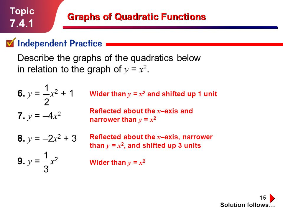 7.4.1 Topic Graphs of Quadratic Functions Independent Practice
