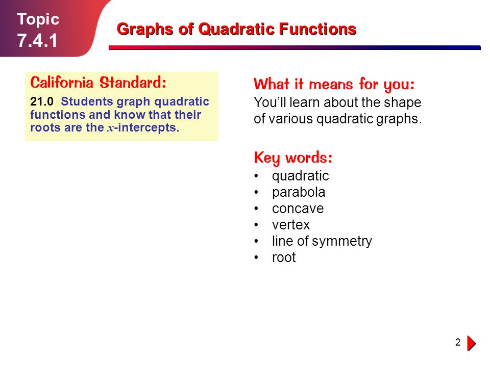 7.4.1 Topic Graphs of Quadratic Functions California Standard: