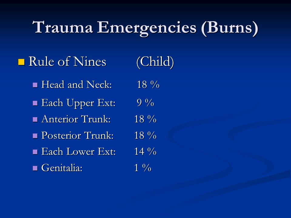 Trauma Emergencies (Burns)