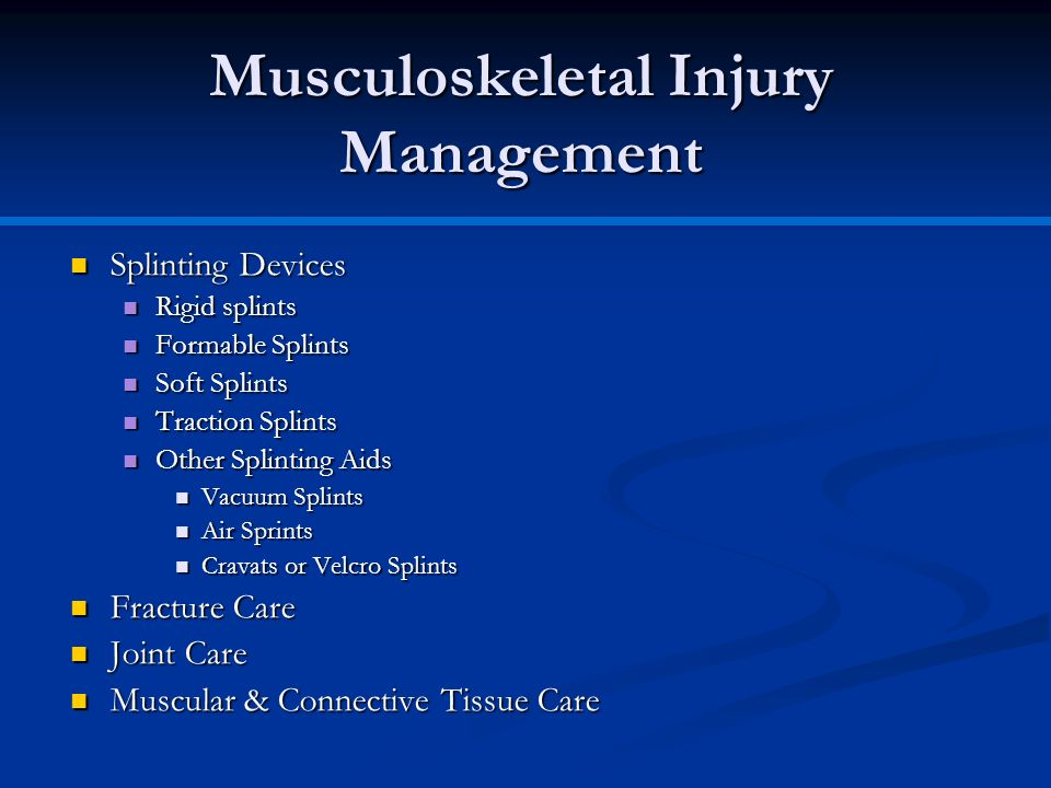 Musculoskeletal Injury Management