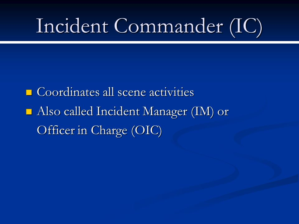 Incident Commander (IC)