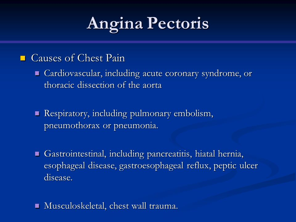 Angina Pectoris Causes of Chest Pain