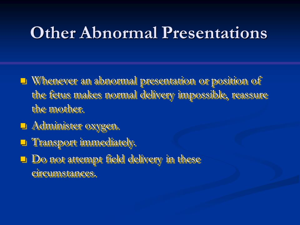 Other Abnormal Presentations