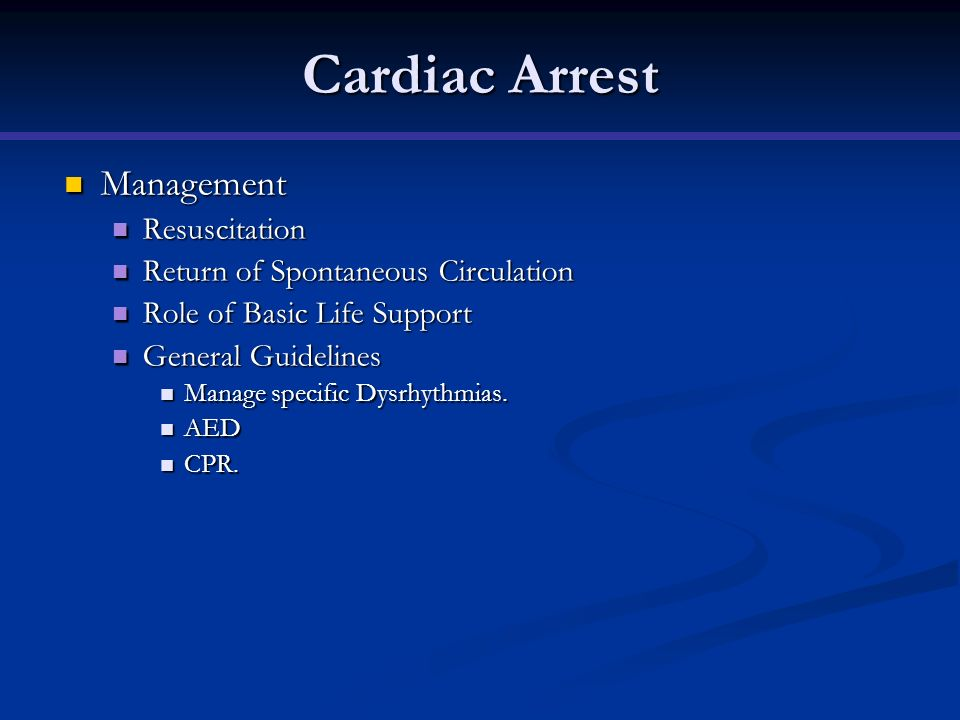 Cardiac Arrest Management Resuscitation