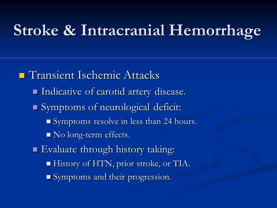 Stroke & Intracranial Hemorrhage