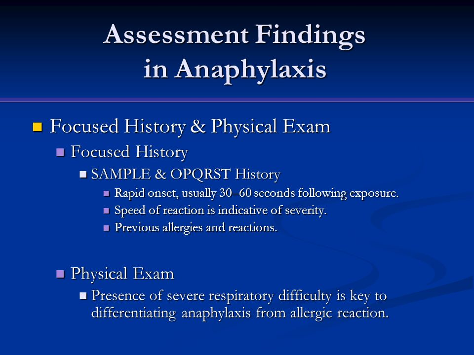 Assessment Findings in Anaphylaxis