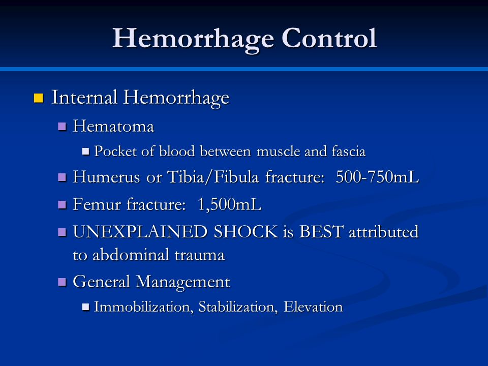 Hemorrhage Control Internal Hemorrhage Hematoma