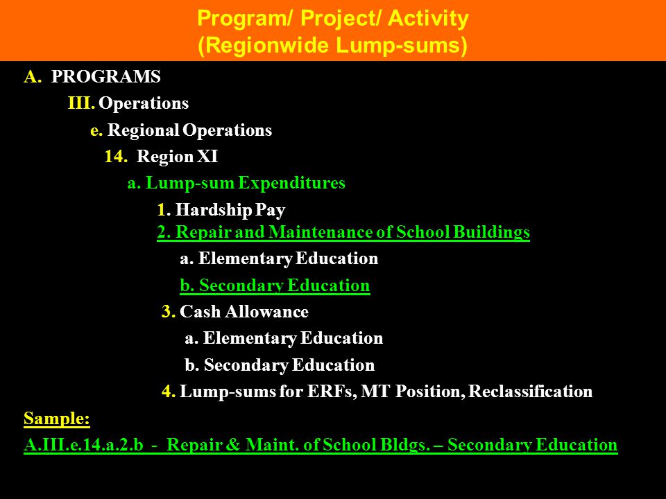 Program/ Project/ Activity (Regionwide Lump-sums)